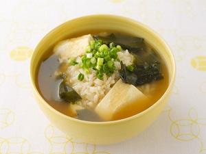 ワカメと豆腐のポン酢雑炊