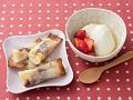 お米とバナナのデザート春巻きと豆腐花の献立