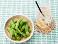 ジンジャースカッシュとゆで枝豆