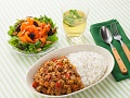 挽き肉と豆のレンジカレーの献立