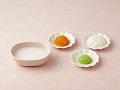 おかゆ、豆腐のペースト、キャベツとにんじんのペースト