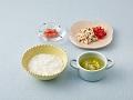 かゆまたは軟飯、あじのトマト添え、野菜スープ、すいか