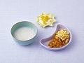 おかゆ、夏野菜のゆで卵のせ、オレンジヨーグルト