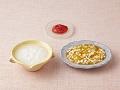 おかゆ、豆腐と野菜のあんかけ、いちごのすりつぶし